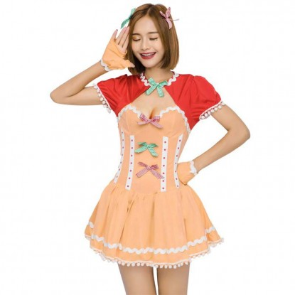 Cute Japanese Girls Kawali Sweet Pleated Pumpkin Dress